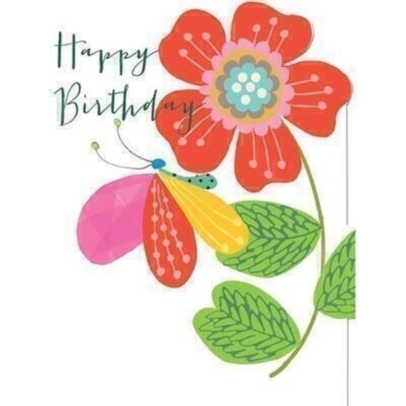 Happy Birthday Flower And Butterfly Card By Liz Pip