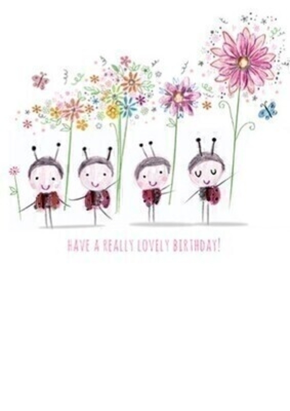 Happy Birthday Ladybugs Greetings Card With Envelope: Booker Gifts