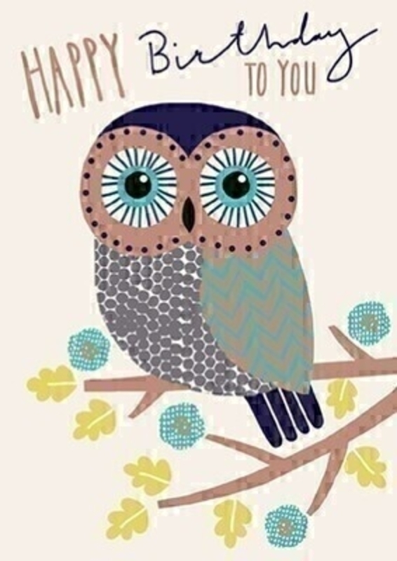 Happy Birthday Owl Greetings Card With Envelope: Booker Gifts