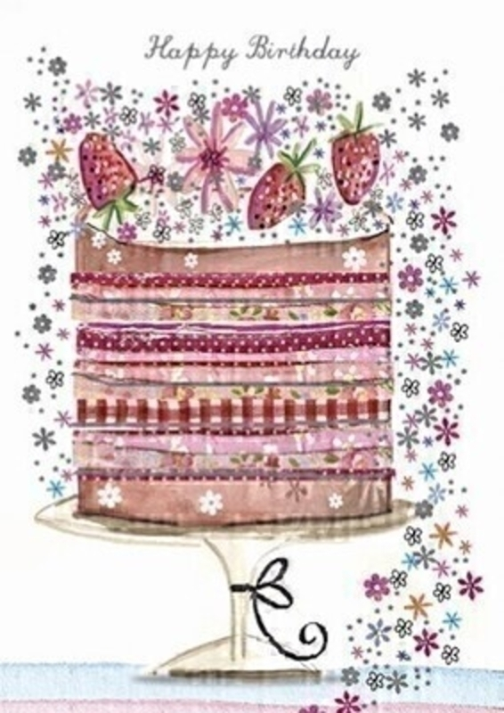 Happy Birthday Strawberry Cake and Flowers Greetings Card With Envelope: Booker Gifts