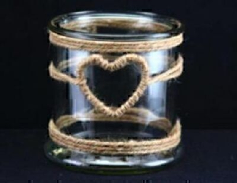 Rope heart wrapped glass jar candle holder. By Gisela Graham. Height 12cm Diameter 12cm.