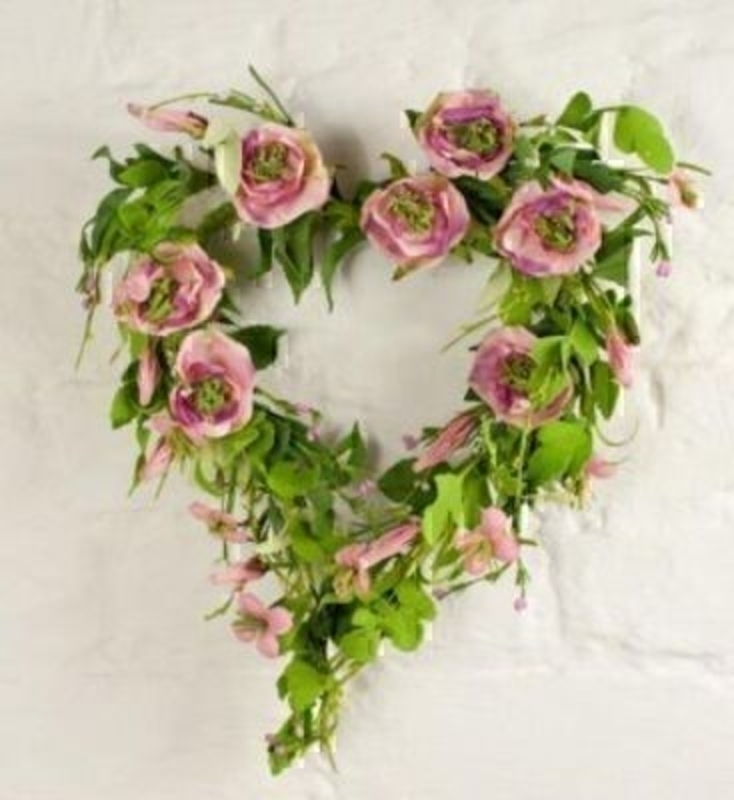 Heart Wreath Pink Roses And Wild Flowers Silk Flowers: Booker Gifts