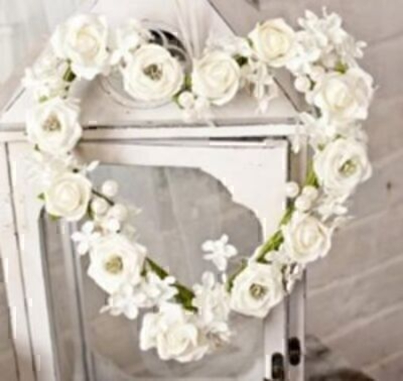 Heart Wreath Rose And Pearls Silk Flowers By Bloomsbury: Booker Gifts