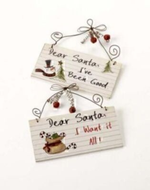 Heaven Sends Set Of 2 Metal Dear Santa Signs.: Booker Gifts
