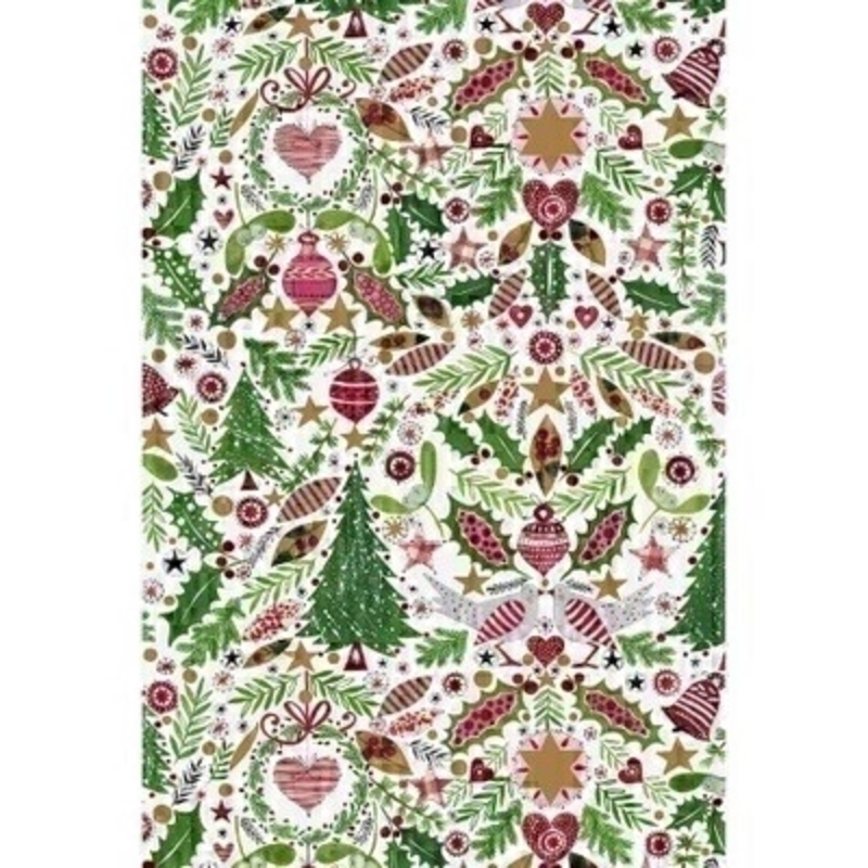 Beautiful wrapping paper decorated with a traditional red and green Christmas scene including trees birds bells holly and hearts. Approx size 2m
