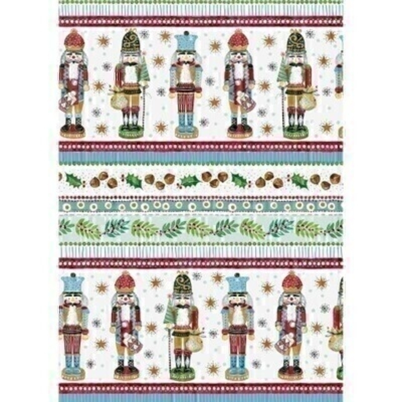 A festive light blue wrapping paper featuring a nutcracker design with nuts and holly. Approx size 2m