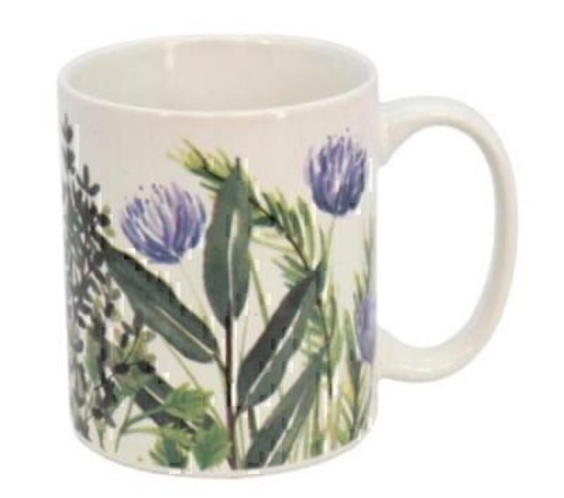 This Herbs Ceramic Mug by designer Gisela Graham would make a perfect gift for a man or a woman. This ceramic mug is decorated with purple clover and a selection of green herb leaves. It would be a lovely gift for keen gardeners and or cooks or even as a treat to yourself! Made from ceramic. Size: (LxWxD) 12x9x8cm