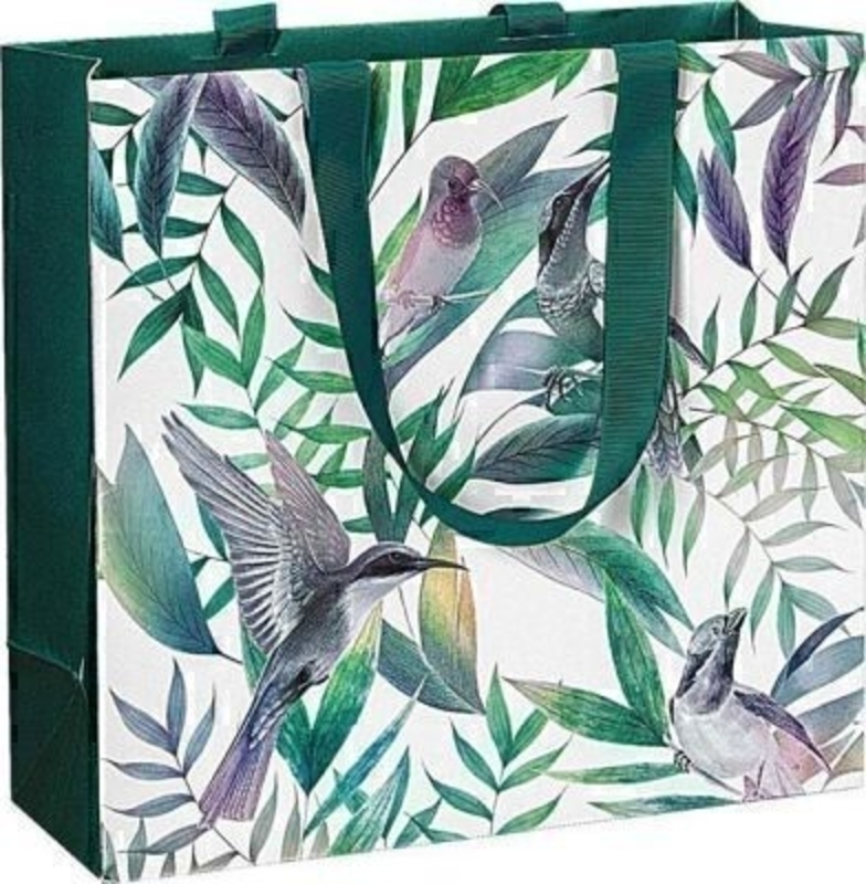 A beautiful contemporary Hummingbird patterned Samora gift bag by Swiss designer Stewo. This gift bag is made from metallised paper and has teal green ribbon handles. This bag has all the quality and detailing you would expect from Stewo. Size 25x23.5x10