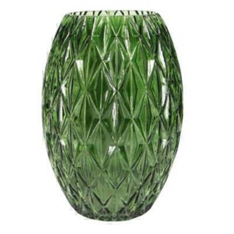 Large Patterned decorative clear Green Glass Trellis Vase By the designer Gisela Graham who designs really beautiful gifts for your garden and home. 17x25cm