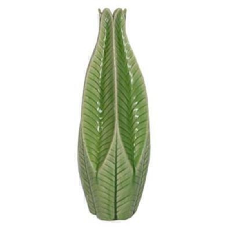 Large Green Leaf Ceramic Decorative Vase perfect for spring flowers by the designer Gisela Graham who designs unique Easter decorations. (LxWxD) 14x14x38.5cm