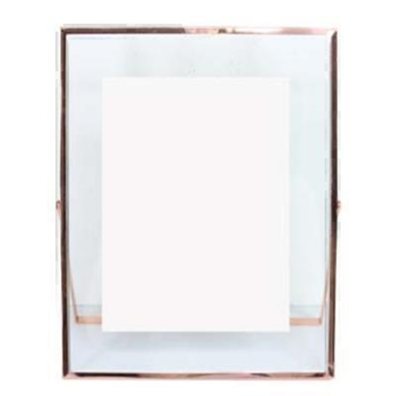Large clear glass frame with rose gold edge  By the designer Gisela Graham who designs really beautiful gifts for your garden and home. (LxWxD) 20.5x25.5x0.8cm