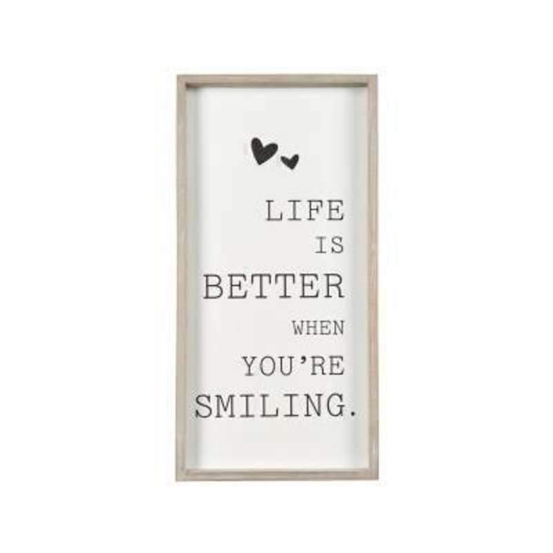 Framed Life is better when youre smiling sign designed by Transomnia