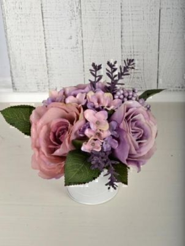 Lilac Roses And Hydrangea In Tin By Bloomsbury: Booker Gifts