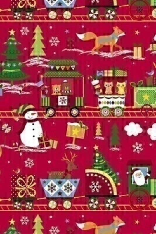 A delightful winter wonderland themed wrapping paper in red with Santa driving a train with reindeer snowmen and festive foxes. Approx size 2m