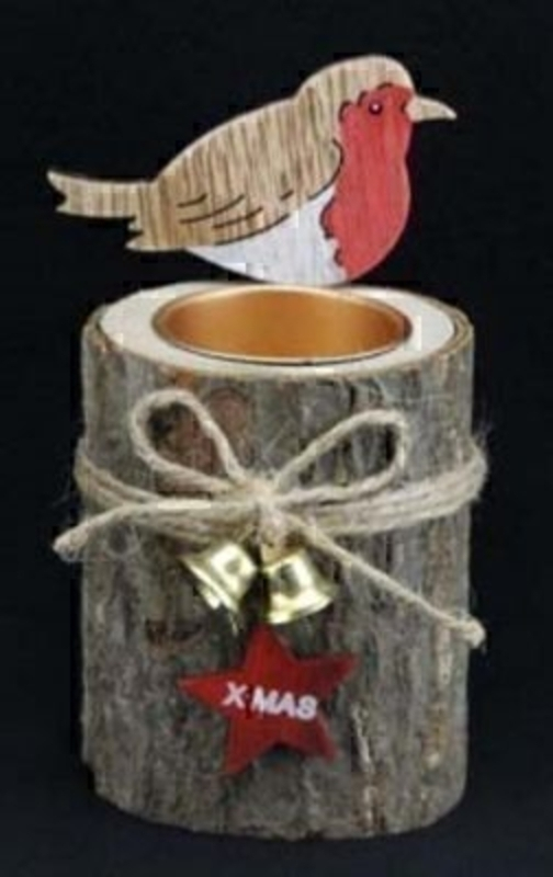 Log Christmas T-Light with Robin by Gisela Graham: Booker Gifts