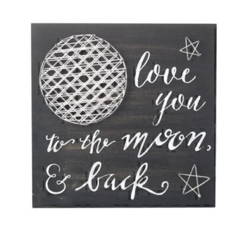 Love to Moon and Back Sign by Heaven Sends. Black and White Love you to the moon and back sign with 3D string art of moon and stars. Size 28x28x1cm
