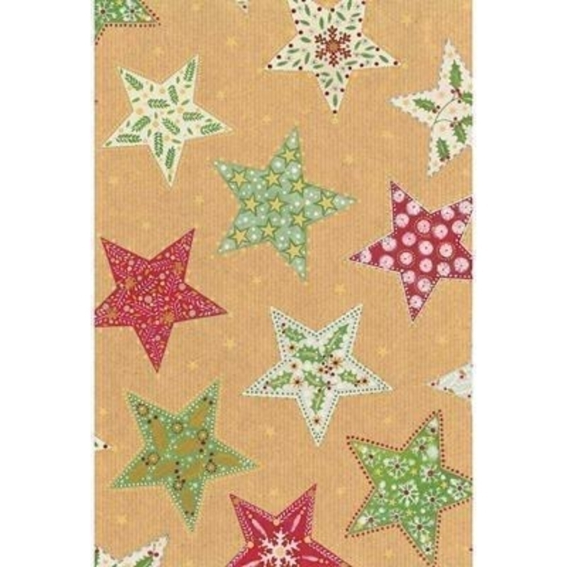In traditional Christmas colours of red green and white but with a contemporary style star pattern. With hot foil stamping and blind embossing. Approx size 70cm x 2m