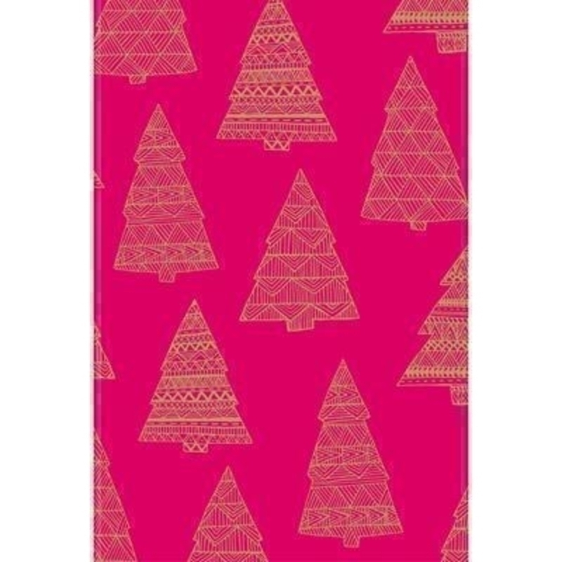 Vivid pink with geometric style Christmas tree print. This is a modern take on a Christmas favourite. With hot foil stamping. Approx size 70cm x 2m