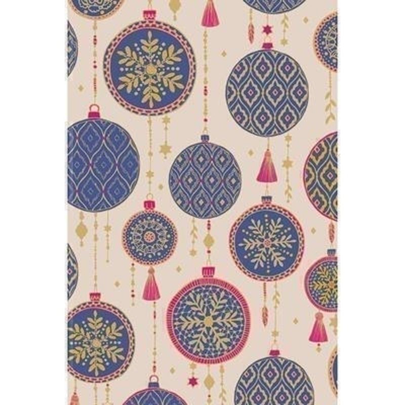 Beautiful wrapping paper decorated with bohemian style print depicting Christmas baubles in a deep purple on a neutral background with gold and pink highlights. With hot foil stamping. Approx size 70cm x 2m