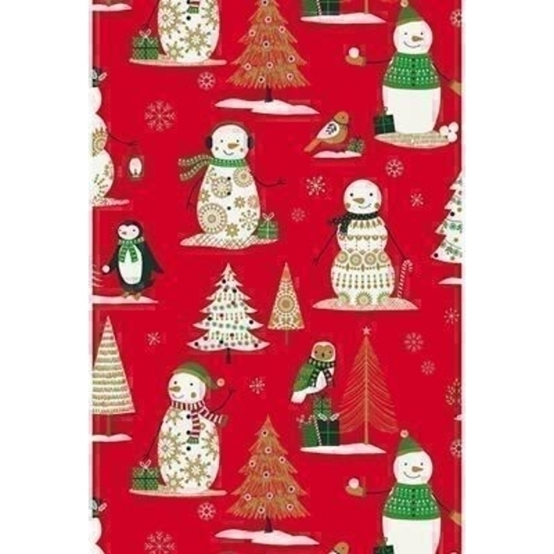 A delightful winter wonderland themed wrapping paper with snowmen penguins Christmas trees and Christmas presents. Approx size 70cm x 2m