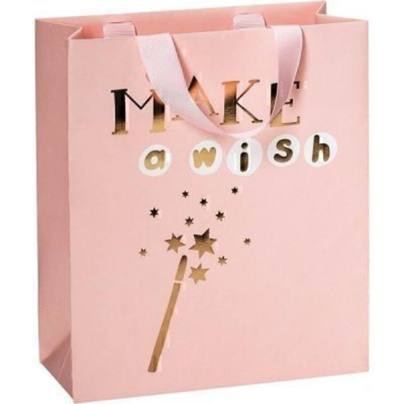 Brighten someone''s day with this beautiful soft pink Make a wish gift bag by Swiss designer Stewo.With matching ribbon handle and hot foil stamping this bag has all the quality and detailing you would expect from Stewo. Size 18x21x8cm