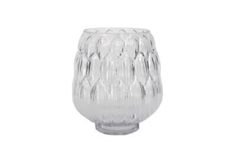 Medium Artichoke Clear Glass Vase by Designer Gisela Graham.  This decorative vase is perfect for flowers or looks lovely without due to the delicate design.