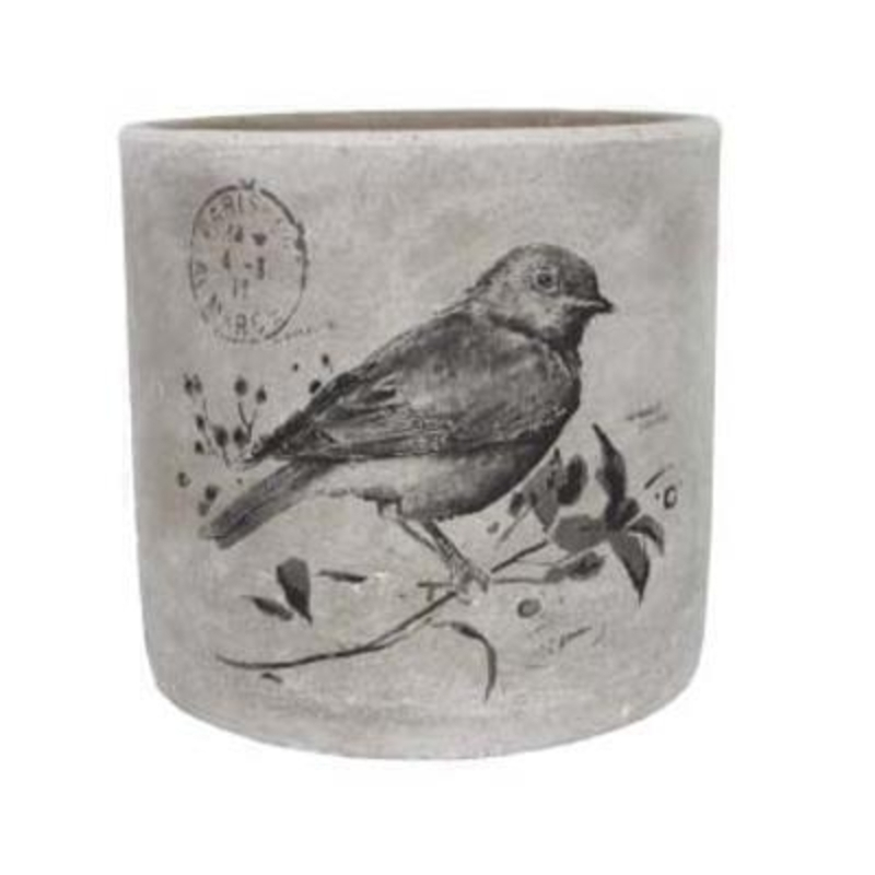 Medium Bird Print Pot Cover by Gisela Graham: Booker Gifts