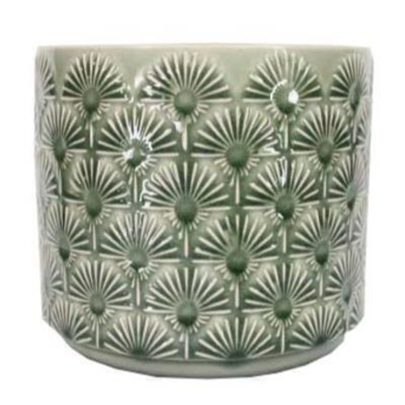Medium Green Fan Pot Cover by Gisela Graham: Booker Gifts