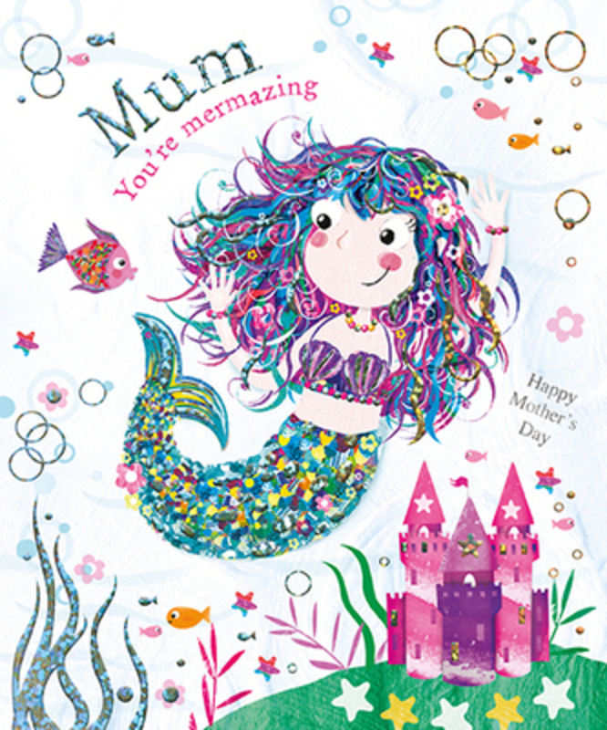 This Mothers Day greetings card from Paper Rose has a pretty mermaid together with MUM Youre Mermazing and Happy Mothers Day written on the front. The card is perfect to send to someone to celebrate Mothering Sunday.  It has Have a really lovely day! written on the inside and comes complete with a pink envelope.