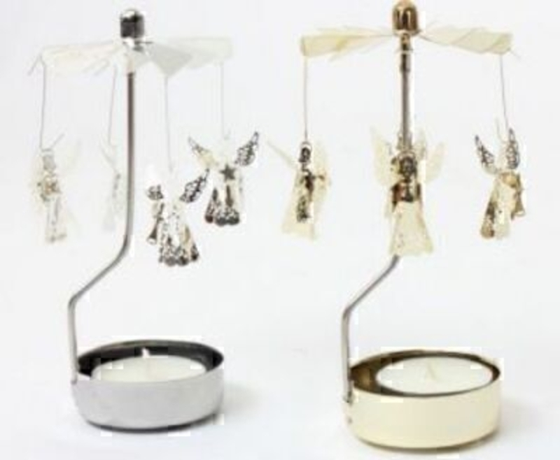 These small metal angel T-light holder come in a variety of gold or silver. When you light the candle the angels spin. Although small in size they are amazingly detailed pieces that can be placed anywhere around the house. These make a great addition to y