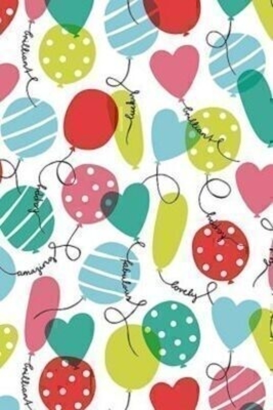Multicoloured Balloons and Hearts Roll Wrap Marion by Stewo. Quality Wrapping Paper. Offset Paper - 70 gsm. Size 70cm x 2m.