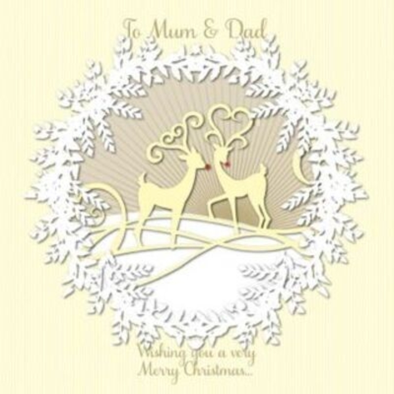 Mum and Dad Christmas Card - Reindeer Wreath by Paper Rose. Laser cud design of a wreath garland with two reindeers with red noses. Comes with a red envelope. 'To mum and Dad - wishing you a very Merry Christmas'. Blank for your own message on the insi