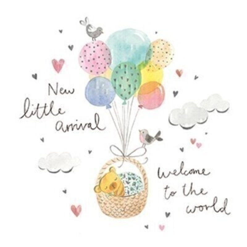 This New Baby greetings card features a cute basket containing a teddy bear being carried through the clouds by a bunch of balloons with the writting New Little Arrival. Welcome To The World. written on the front from Paper Rose.  The card has been left blank inside so you can write your own message and is gender netural so would be perfect to send to someone to congratulate them on the birth of their new baby boy or girl.
