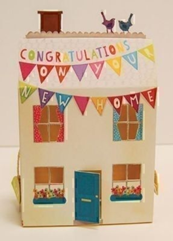 New Home Card 3D Paper Magic Paper Rose. This beautiful 3D house shaped card by Paper Magic for Paper Rose is a charming New Home card. On the front 'Congratulations on your new home' On the inside 'Wishing you lots of happiness in your new home' Come