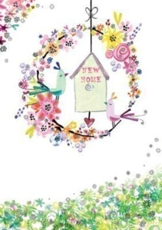 New Home Card Bird House in Flower Circle by Paper Rose: Booker Gifts