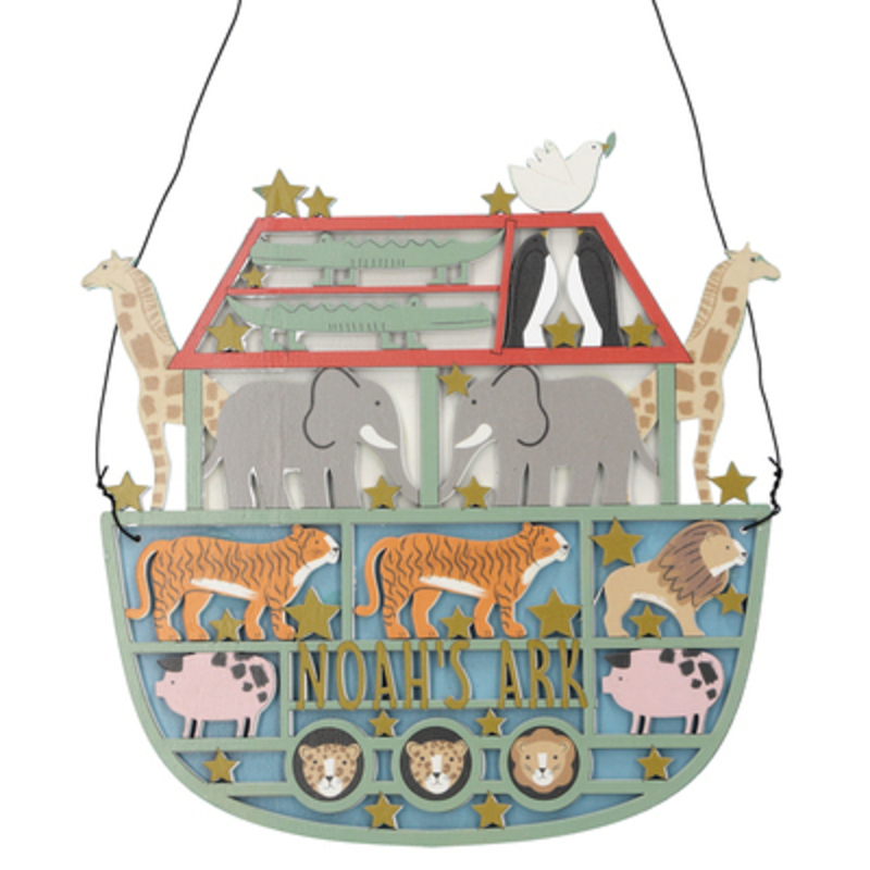 Wooden fretwork Noahs Ark Christmas hanging plaque by Gisela Graham. This fesive fretwork decoration by Gisela Graham will delight for years to come. It will compliment any Christmas decorations and will bring Christmas cheer to children at Christmas time year after year. Remember Booker Flowers and Gifts for Gisela Graham Christmas Decorations.