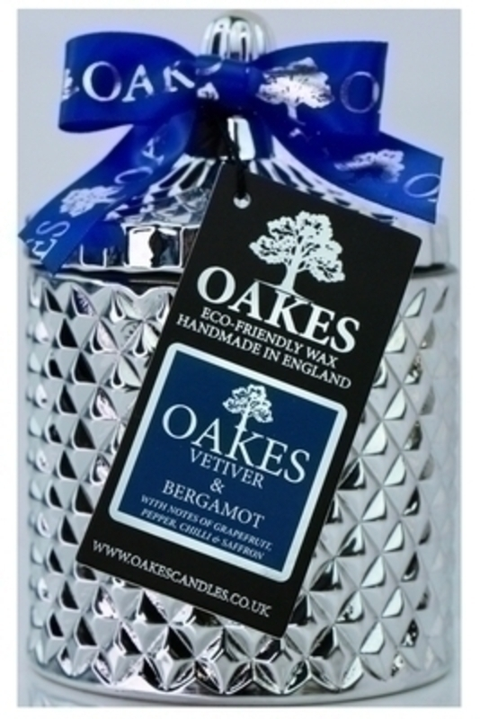 Oakes Vetiver and Bergamot Scented Soy Wax Candle in Glass Jar: Booker Gifts
