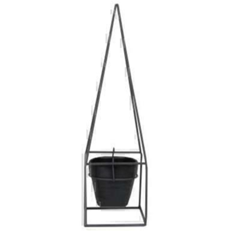 Charcoal Metal Obelisk Frame Pot Cover Orn By the designer Gisela Graham who designs really beautiful gifts for your garden and home. (LxWxD) 14x14x48cm