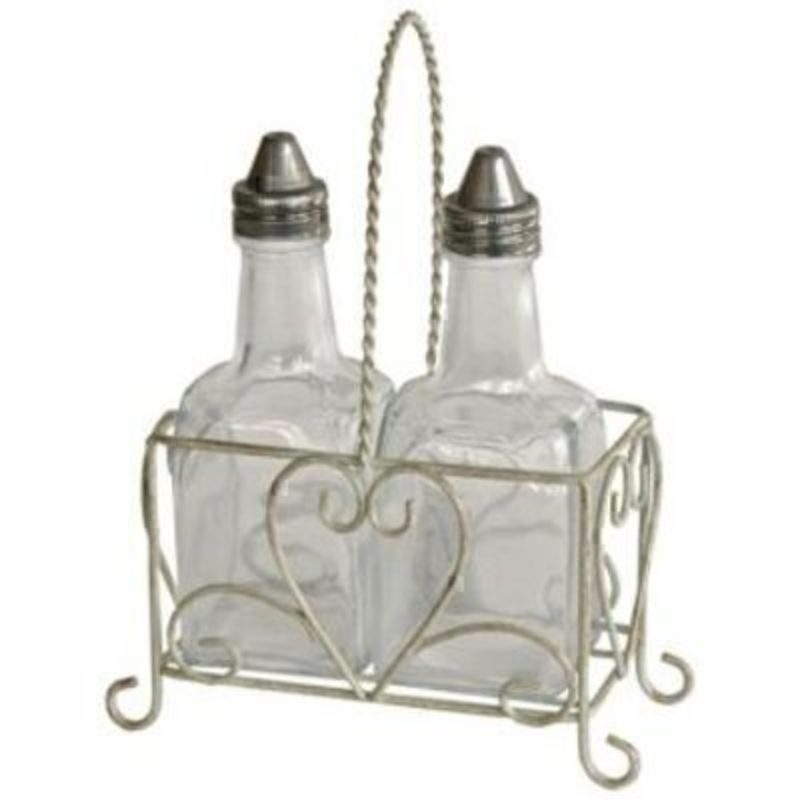 Glass oil and vinegar bottles in shabby chic look heart wire carrier by Originals. Great House Warming Gift. Size 13x20x6.5cm