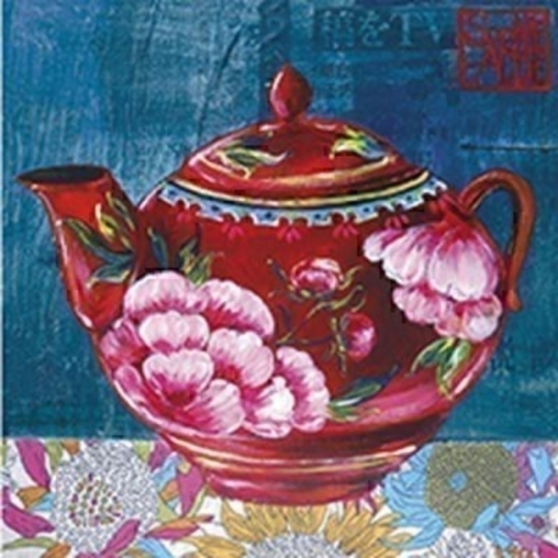 Oriental Tea Pot Blank Greeting Card by Paper Rose: Booker Gifts