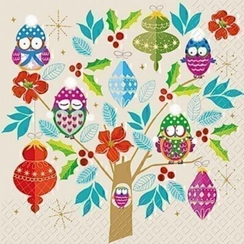 Owl And Bauble Tree Jolante Christmas Napkins By Stewo: Booker Gifts