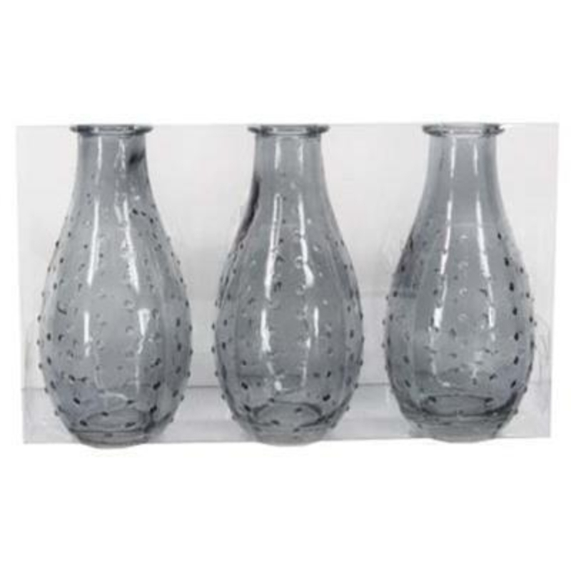 Pack of 3 Grey Dimple Glass Small Vase by Gisela Graham: Booker Gifts