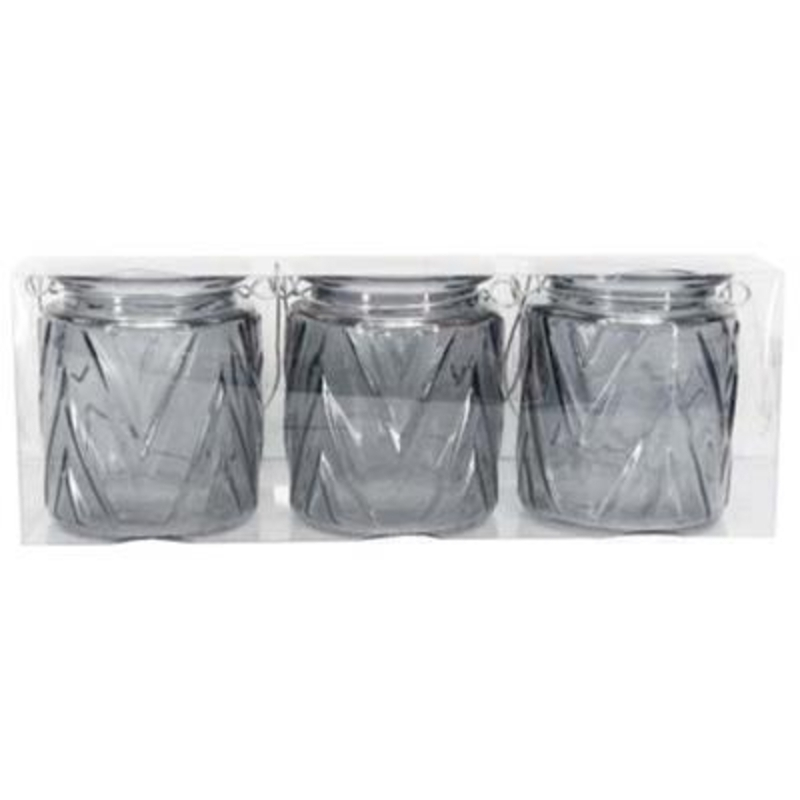 Pack of Three Grey glass chevron effect tea light jars By the designer Gisela Graham who designs really beautiful gifts for your garden and home. (LxWxD) 26x7x9cm