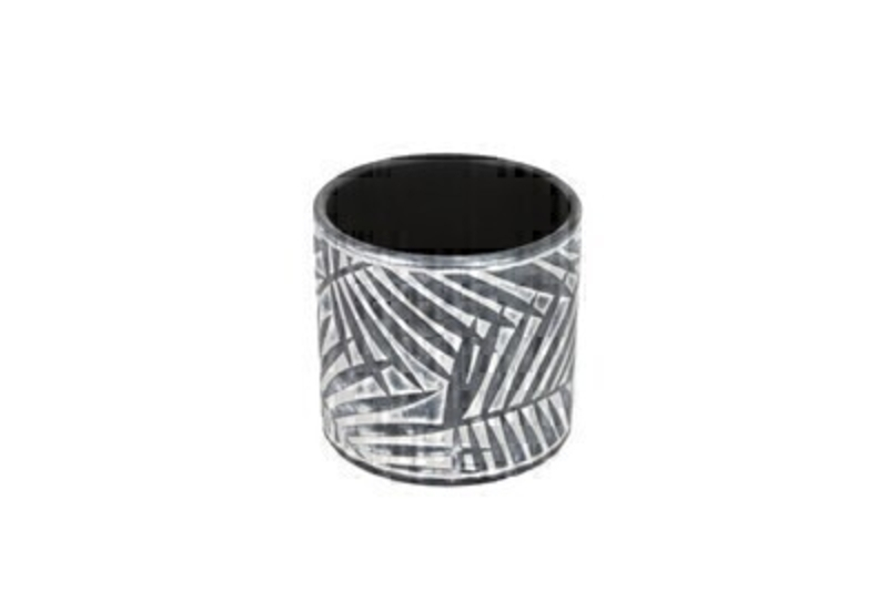 Palm Design Concrete Pot Cover In Charcoal And White by Gisela Graham: Booker Gifts