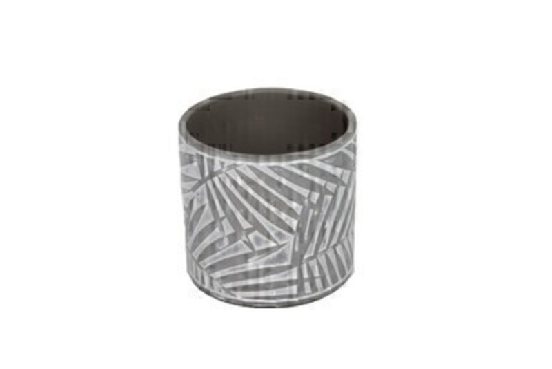 Palm leaf round concrete pot in grey and white by designer Gisela Graham. The palm leaf design will give a tropical vibe to your home or garden.