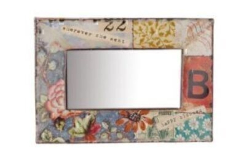 Shabby Chic printed metal frame with patchwork effect box mirror by Heaven Sends. Size 23x16cm