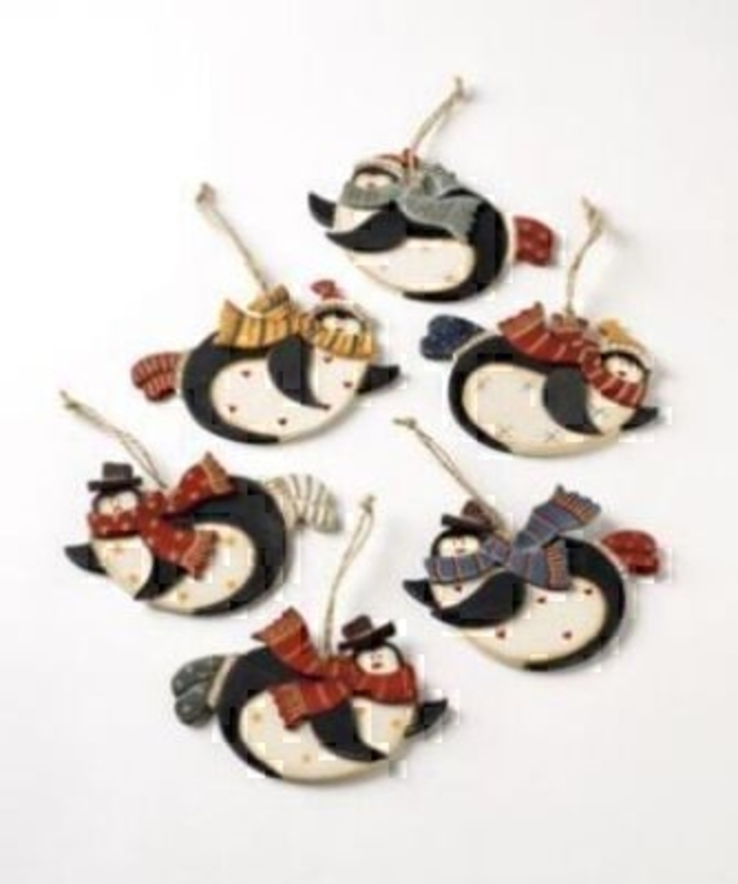 Wooden penguin hanging decorations assorted designs - as pictured. Please specify your preference if any. Height 8cm