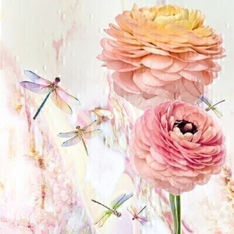Peonies and Dragonflies Blank Greetings Card by Paper Rose: Booker Gifts