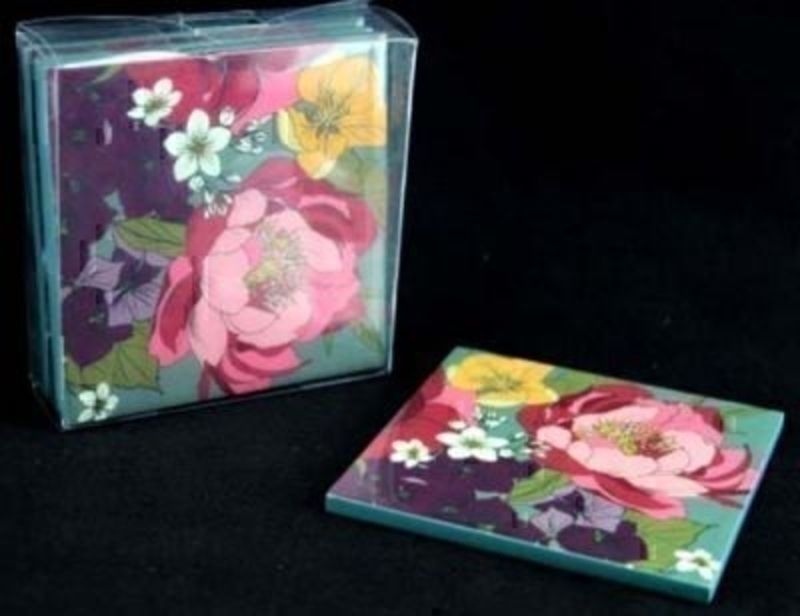 Pack of 4 high gloss wooden square coaster in Peony design by Gisela Graham. Would make a great gift for a lady. Size 10x10cm