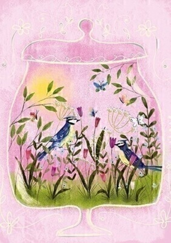 This pink greetings card from Paper Rose has a picture of two bluetits in a field of flowers with butterflies. The card is blank inside so you can write your own message and it comes complete with white envelope.  A lovely little card to send to someone who loves birds flowers or nature.